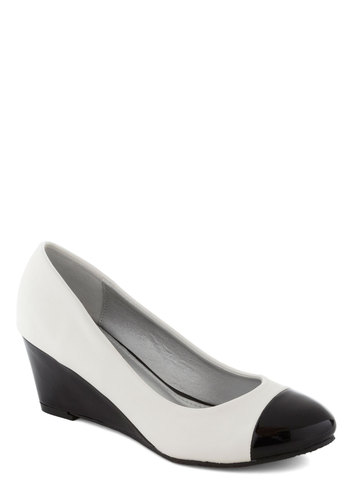 Conference to Cocktails Wedge in Black  White