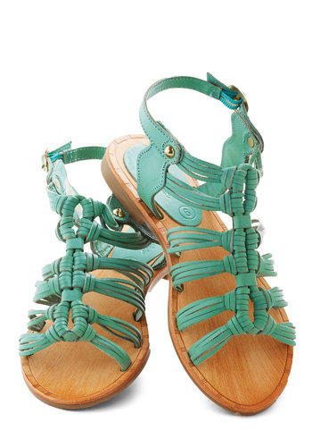 Rambling Ways Sandal by Seychelles - Solid, Beach/Resort, Summer, Flat, Leather, Mint, Casual, Strappy
