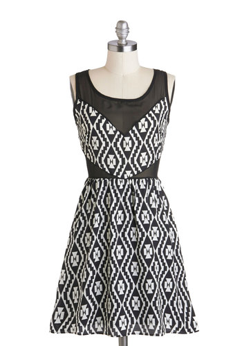 My Kind of Gallery Dress - Mid-length, Sheer, Black, White, Print, Exposed zipper, Party, A-line, Tank top (2 thick straps), Scoop, Cutout, Girls Night Out