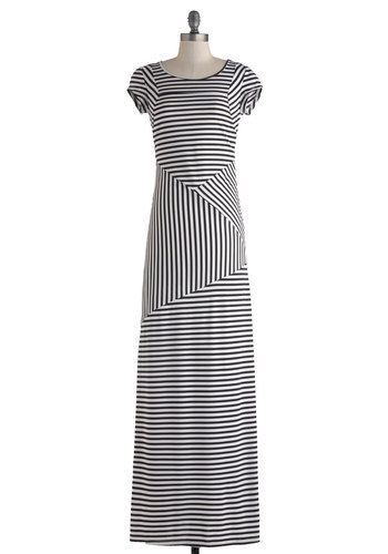 Talk Is Chic Dress - Black, White, Stripes, Casual, Maxi, Short Sleeves, Scoop, Urban, Summer, Long, Cutout, Basic