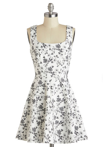 An Open Sketchbook Dress - Black, Floral, A-line, Tank top (2 thick straps), Casual, Spring, White, Short, Exposed zipper