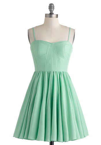 Dessert Before Dinner Dress - Mint, Solid, Party, Fit & Flare, Spaghetti Straps, Sweetheart, Prom, Summer, Short, Pastel