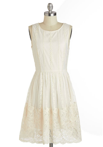 Delightfully Darling Dress - White, Solid, Crochet, Lace, Daytime Party, Graduation, A-line, Sleeveless, Scoop, Spring, Short