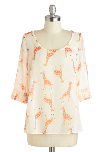 Daily Lunch Date Top in Giraffe - Cream, Orange, Cutout, 3/4 Sleeve, Sheer, Print with Animals, Novelty Print, Casual, Quirky, Scoop, Mid-length, White, Tab Sleeve, Spring