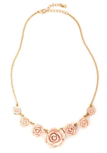 Fashionably Ornate Necklace - Pink, Gold, Solid, Flower, Fairytale, Daytime Party, Bridesmaid