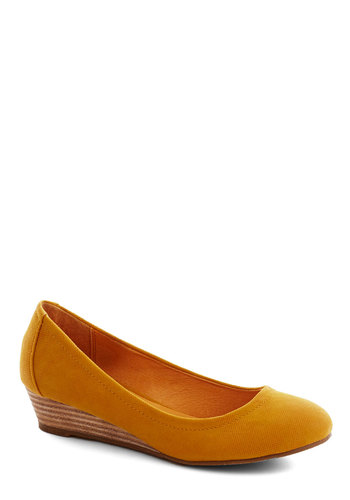 Butterscotch Schnapps Wedge by Chelsea Crew - Yellow, Solid, Work, Wedge, Low