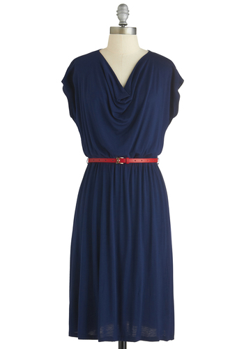 Swim Club Chic Dress - Blue, Solid, Belted, Casual, A-line, Cap Sleeves, Cowl, Exclusives, Mid-length