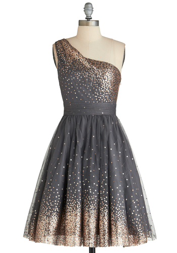 Starlight Hearted Dress - Long, Grey, Gold, Sequins, Prom, Cocktail, Fit & Flare, One Shoulder, Best, Exclusives, Formal