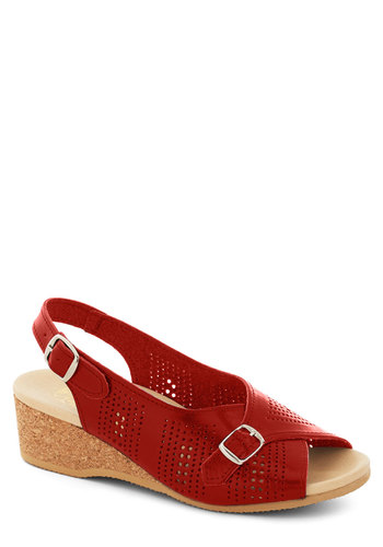 The Perf Sandal in Cherry - Red, Solid, Buckles, Cutout, Casual, Summer, Leather, Mid, Americana