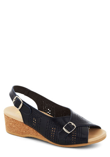 The Perf Sandal in Navy by Wörishofer - Wedge, Leather, Mid, Beach/Resort, Summer