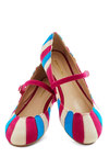 Umbrella Statement Flat - Multi, Stripes, Scallops, Colorblocking, Mary Jane, Pink, Flat, Casual, Variation, Statement