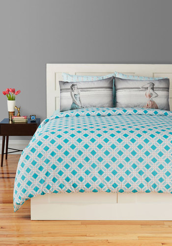 Dream Between the Lines Duvet Cover in Twin - Blue, Print, Dorm Decor, White, Exclusives, Cotton, Best