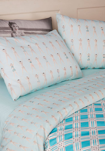 Dream Team Sheet Set in King - Blue, Novelty Print, Pinup, Dorm Decor, Cotton, Multi, Exclusives