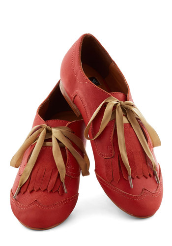 Fore the Win Flat - Orange, Solid, Menswear Inspired, Flat, Leather, Tassels, Work, Casual, Lace Up