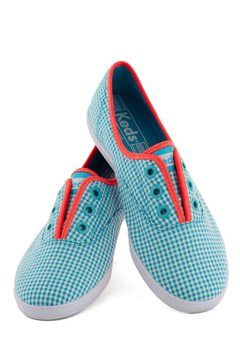 It's Been a Boll Sneaker in Gingham by Keds - Flat, Blue, Orange, White, Checkered / Gingham, Casual, Travel, Summer