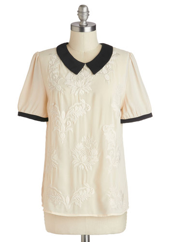 That's All She Baroque Top - Sheer, Mid-length, Cream, Black, Embroidery, Peter Pan Collar, Work, Vintage Inspired, Short Sleeves, Collared, White, Short Sleeve