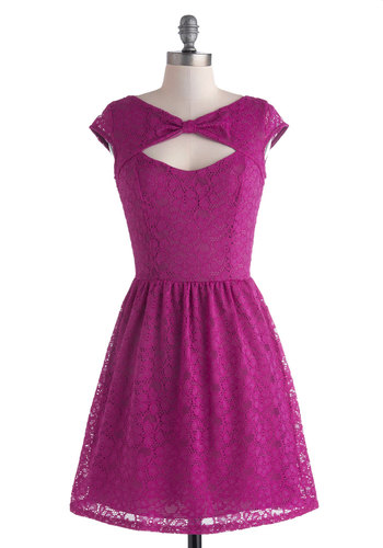 Be Bright Back Dress in Fuchsia - Mid-length, Pink, Solid, Cutout, Lace, Party, A-line, Cap Sleeves, Purple