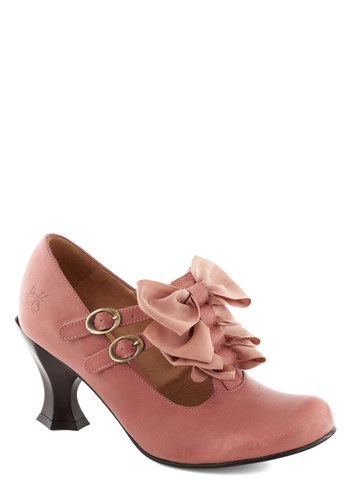 John Fluevog Little Boutique Heel by John Fluevog - Mid, Leather, Pink, Bows, Buckles, Statement, Fairytale, Solid, Party, Daytime Party, Vintage Inspired, French / Victorian
