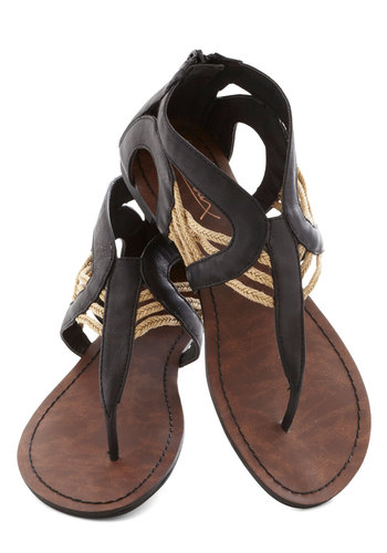 Talking Drum Sandal in Black - Black, Tan / Cream, Boho, Summer, Flat, Faux Leather, Solid, Casual, Strappy, Variation