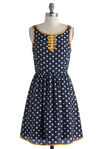 Seize the Daytime Party Dress by Dear Creatures - Blue, White, Polka Dots, Casual, A-line, Yellow, Buttons, Tank top (2 thick straps), Mid-length, Cutout, Scoop, Trim, Spring, Summer