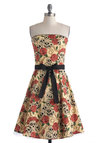 VIP Thicket Dress - Short, Cotton, Cream, Multi, Print, Bows, Party, A-line, Strapless, Novelty Print, Urban, Spring, Statement, Halloween