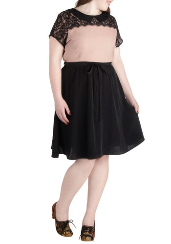 Graceful in the Gallery Dress in Plus Size - Sheer, Black, Tan / Cream, Lace, Party, Vintage Inspired, Mid-length, Peter Pan Collar, Collared, Solid, Belted, Wedding, Cocktail, French / Victorian, A-line, Short Sleeves, Exclusives