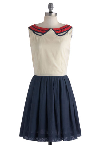 Banner Day Dress - Blue, White, Twofer, Sleeveless, Casual, Red, Cutout, Collared, Mid-length, Peter Pan Collar, Nautical