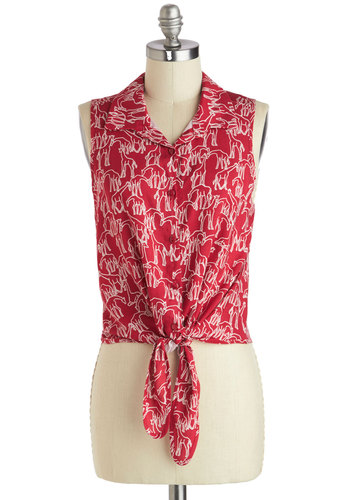 Tall I Could Ever Need Top - Short, Red, White, Print with Animals, Buttons, Casual, Safari, Quirky, Sleeveless, Summer
