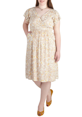 Sweet as Honeysuckle Dress in Plus Size - Cotton, Tan, Pink, Floral, Casual, Daytime Party, Short Sleeves, Yellow, Pockets, A-line, Spring, Summer, V Neck, Exclusives