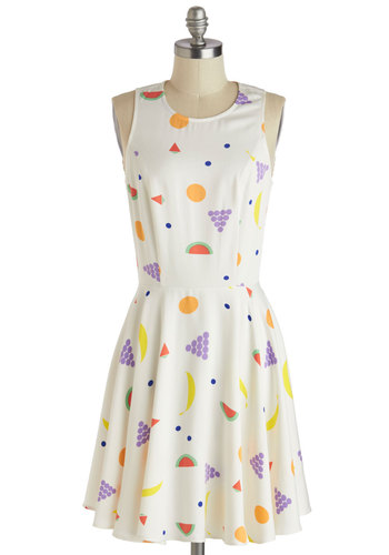 A Healthy Serving of Possibilities Dress - Print, Casual, A-line, Sleeveless, Spring, Mid-length, White, Multi, Fruits, Crew, 80s