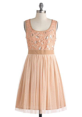 Gleam of Light Dress - Print, Party, A-line, Halter, Sweetheart, Wedding, Bridesmaid, Daytime Party, Pastel, Pink, Mid-length