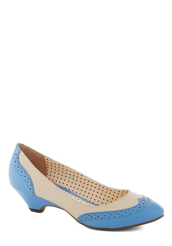 Sweet Spectator Heel in Pansy by Bait Footwear - Mid, Faux Leather, Cream, Blue, Work, Vintage Inspired, 30s, Wedge