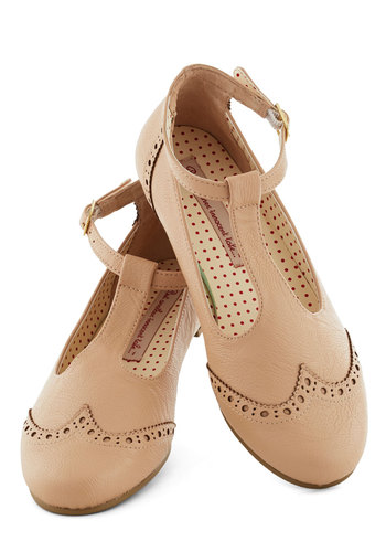 Joy and Merriment Flat in Cafe by Bait Footwear - Flat, Faux Leather, Tan, Solid, Menswear Inspired, Vintage Inspired, Better, T-Strap, Buckles, Cutout