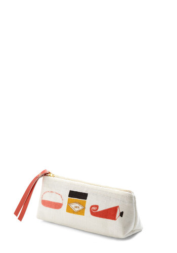 Midday Primp Makeup Bag - White, Multi, Novelty Print, Travel, Boudoir, Good