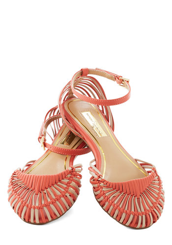 Melon Twist Flat - Flat, Faux Leather, Coral, Tan / Cream, Stripes, Woven, Casual, Daytime Party, Beach/Resort, Vintage Inspired, Summer
