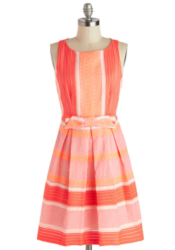 The Grapefruit and Powerful Dress by Eva Franco - Mid-length, Pink, Orange, White, Coral, Stripes, Bows, Pleats, A-line, Sleeveless, Wedding, Daytime Party, Graduation, Neon