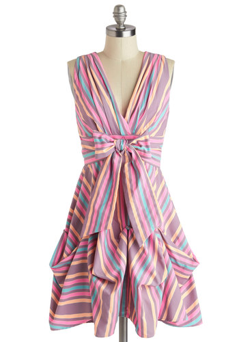 Here in My Carnival Dress in Candy Colors by Eva Franco - Mid-length, Orange, Blue, Purple, Pink, Stripes, Bows, Cutout, Party, Sack, Sleeveless, V Neck, Multi, Variation, Summer, Daytime Party