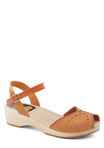 Sand Adventures Wedge by Swedish Hasbeens - Tan, Solid, Cutout, Vintage Inspired, 70s, Slingback, Wedge, International Designer