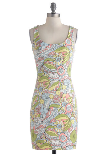 Wallflower Power Dress - Pastel, Spring, Short, Cotton, Yellow, Green, Blue, Pink, White, Floral, Cutout, Party, Bodycon / Bandage, Tank top (2 thick straps), Scoop, Multi, Girls Night Out, Mini, Summer
