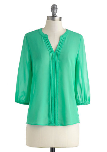 Row with the Flow Top - Sheer, Green, Solid, Mid-length, Trim, Work, Casual, 3/4 Sleeve, V Neck, Mint, Green, 3/4 Sleeve