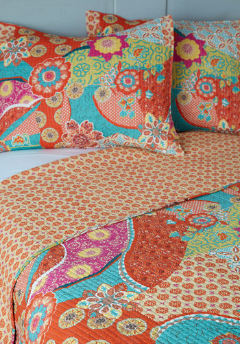 Pattern In for the Night Quilt Set in Full/Queen - Cotton, Red, Red, Boho, Dorm Decor, Best