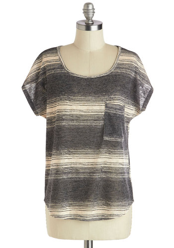 Horizon Snapshots Top - Mid-length, Sheer, Grey, Tan / Cream, Stripes, Casual, Menswear Inspired, Short Sleeves