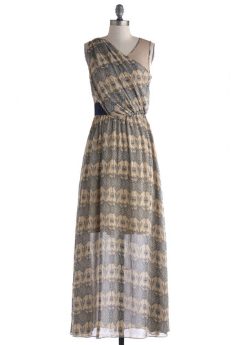 Riviera Cruise Dress by Ryu - Print, Maxi, Tan, Blue, Party, Sleeveless, Boho, Summer, Long, Fall, Sheer, Woven