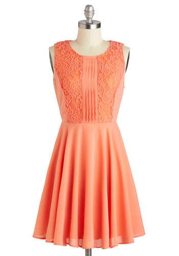 Apricot Dahlia Dress - Orange, Solid, Lace, Pleats, Party, A-line, Sleeveless, Scoop, Wedding, Summer, Mid-length