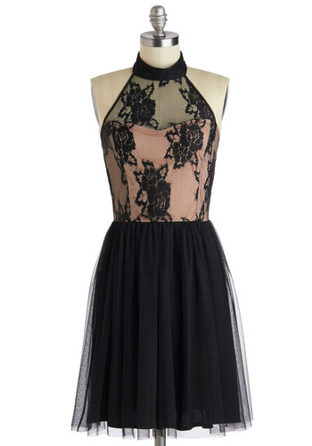 Twirl a Tale Dress - Mid-length, Sheer, Black, Pink, Lace, Party, A-line, Halter, Girls Night Out
