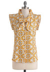 Kerry On with Confidence Top by Mata Traders - Yellow, White, Print, Bows, Buttons, Sleeveless, Mid-length, Cotton