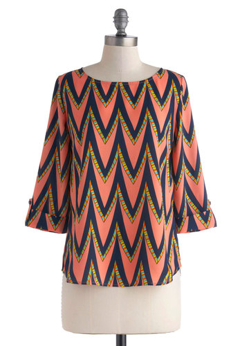 Are We There Fete? Top - Pink, Orange, Yellow, Blue, Buttons, 3/4 Sleeve, Mid-length, Chevron, Work, Casual