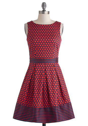 In the Pattern Mix Dress in Dots - Mid-length, Cotton, Red, Blue, Polka Dots, Exposed zipper, Belted, Party, A-line, Sleeveless, Scoop, Pockets, Work
