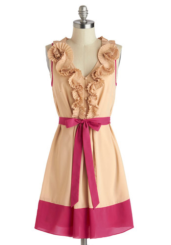 Best Rosette to Come Dress by Ryu - Tan, Pink, Buttons, Ruffles, Belted, Party, A-line, Sleeveless, V Neck, Mid-length, Pleats, Valentine's