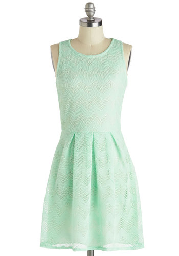 Vegan Brunch Dress - Pastel, Mid-length, Chevron, Mint, Crochet, Casual, A-line, Tank top (2 thick straps), Crew, Summer
